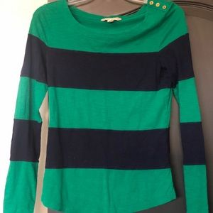Banana Republic Navy blue and green striped shirt